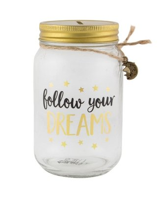 FOLLOW YOUR DREAMS JAR MONEY BOX